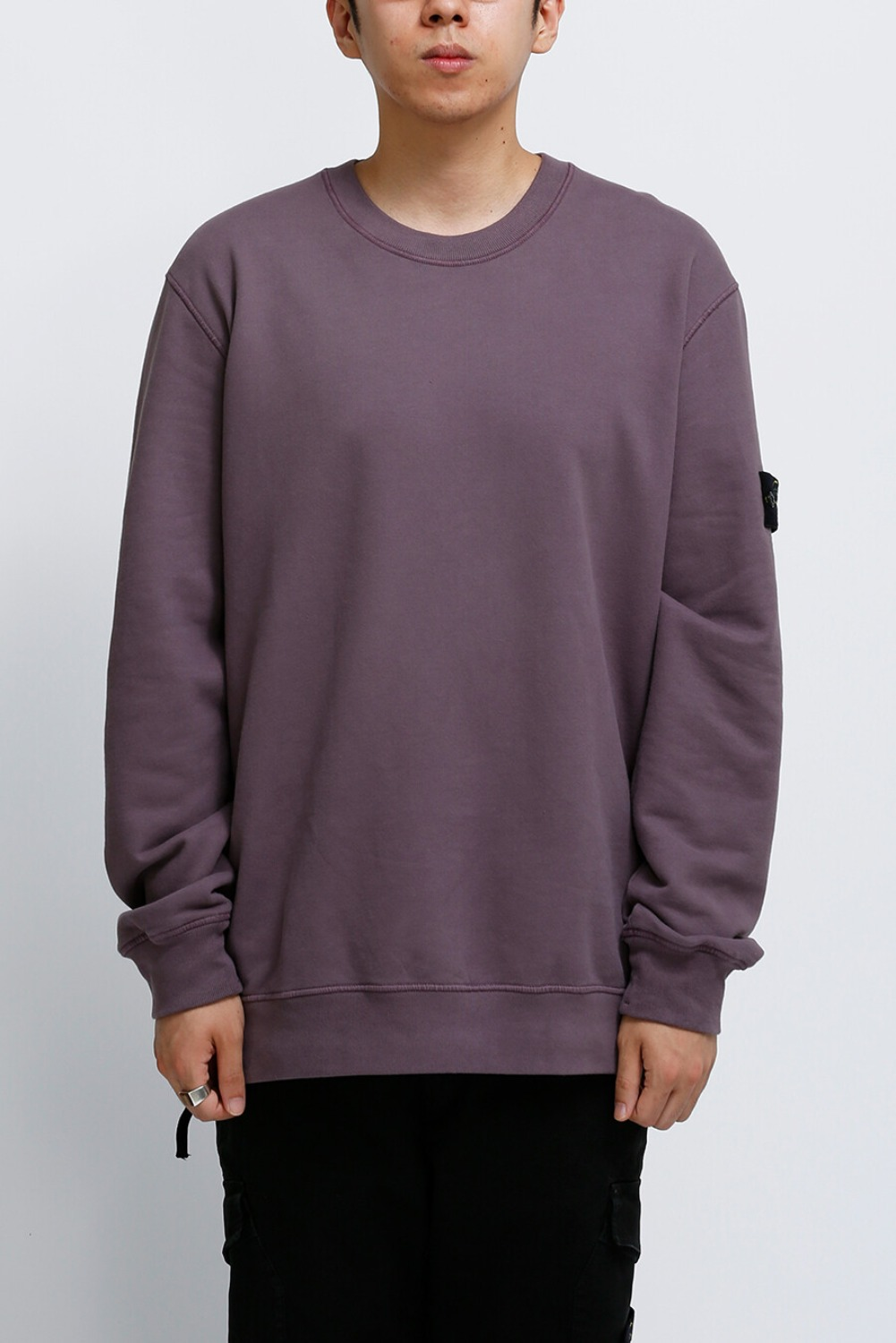 BRUSHED COTTON FLEECE GARMENT DYED SWEATSHIRT MAGENTA