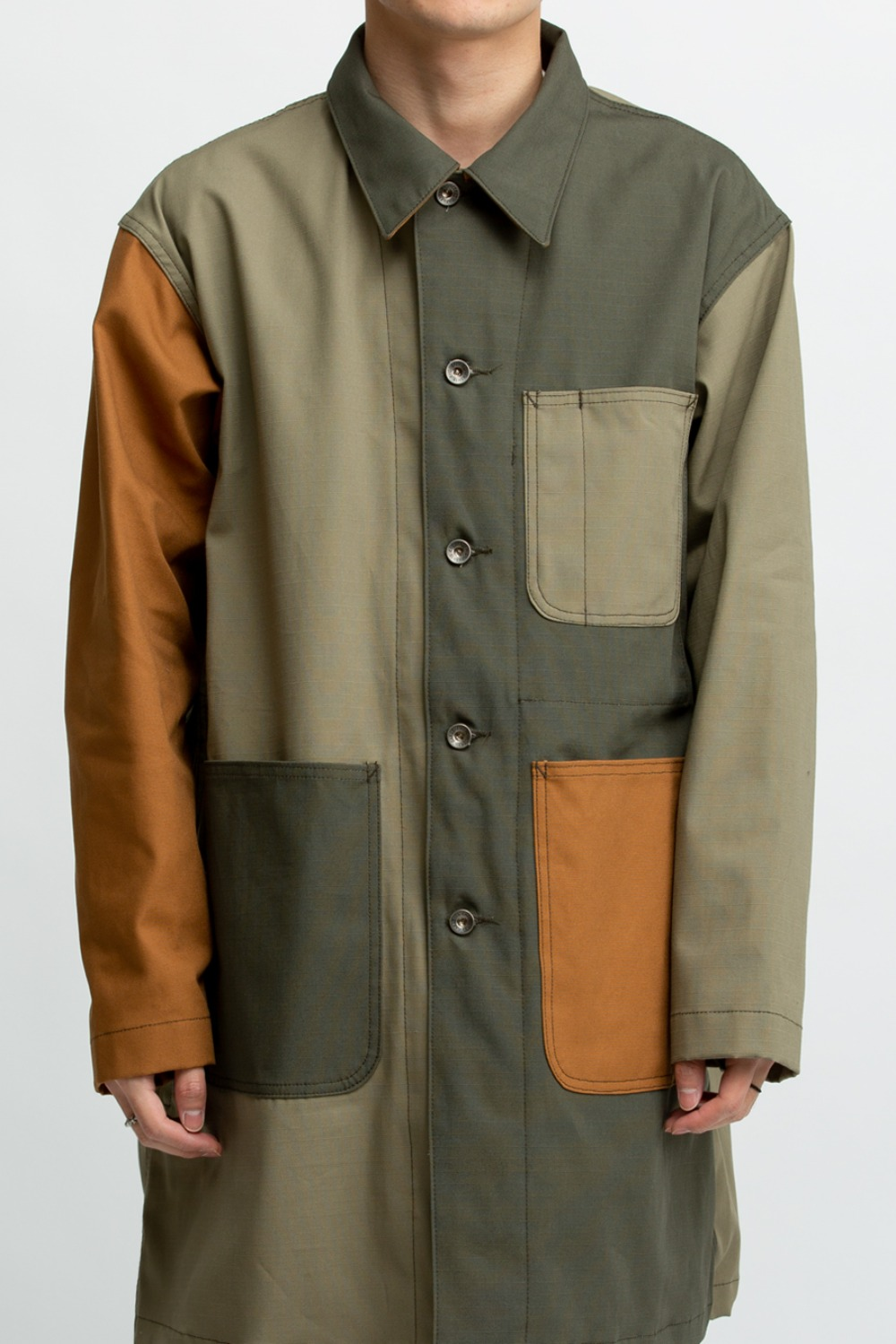 SHOP COAT COMBO OLIVE COTTON RIPSTOP