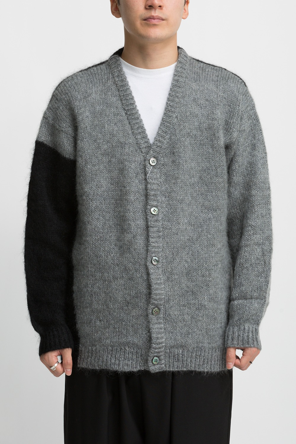 HAND KNITTED MOHAIR CARDIGAN BLACK / GREY