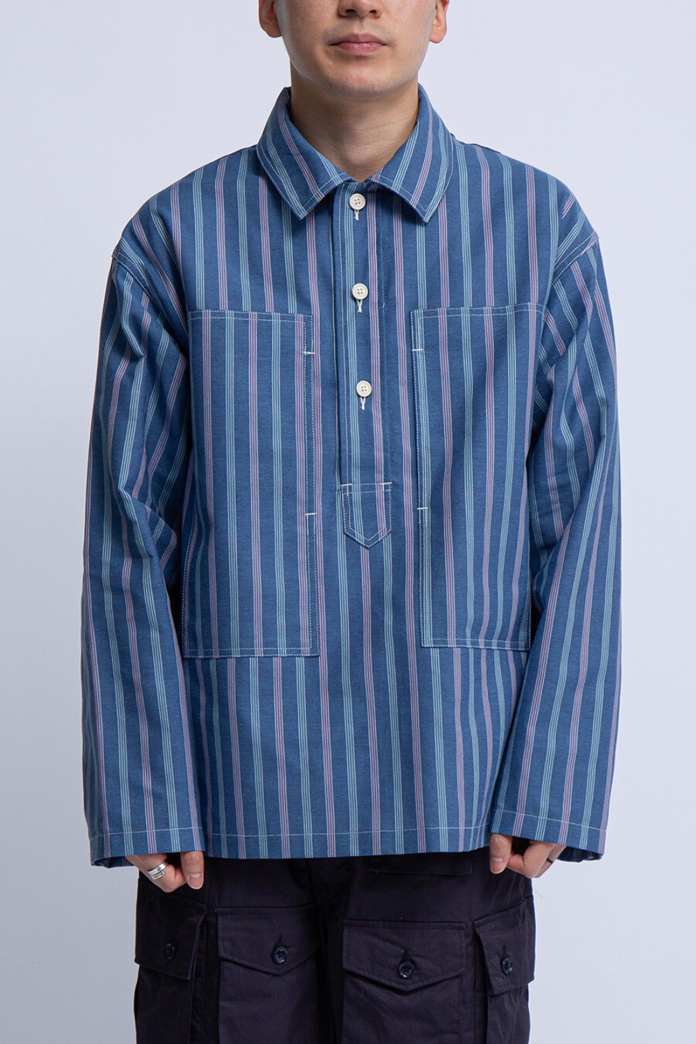 ARMY SHIRT BLUE MULTI WORKERS STRIPE