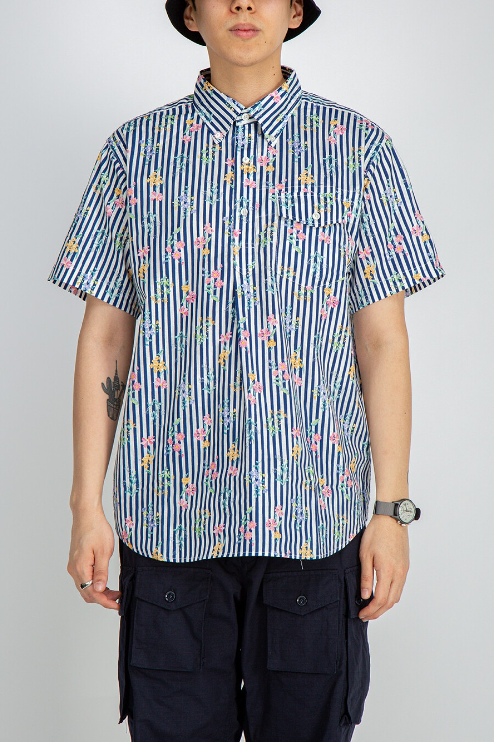 POPOVER BD SHIRT COTTON FLORAL STRIPE PRINT NAVY