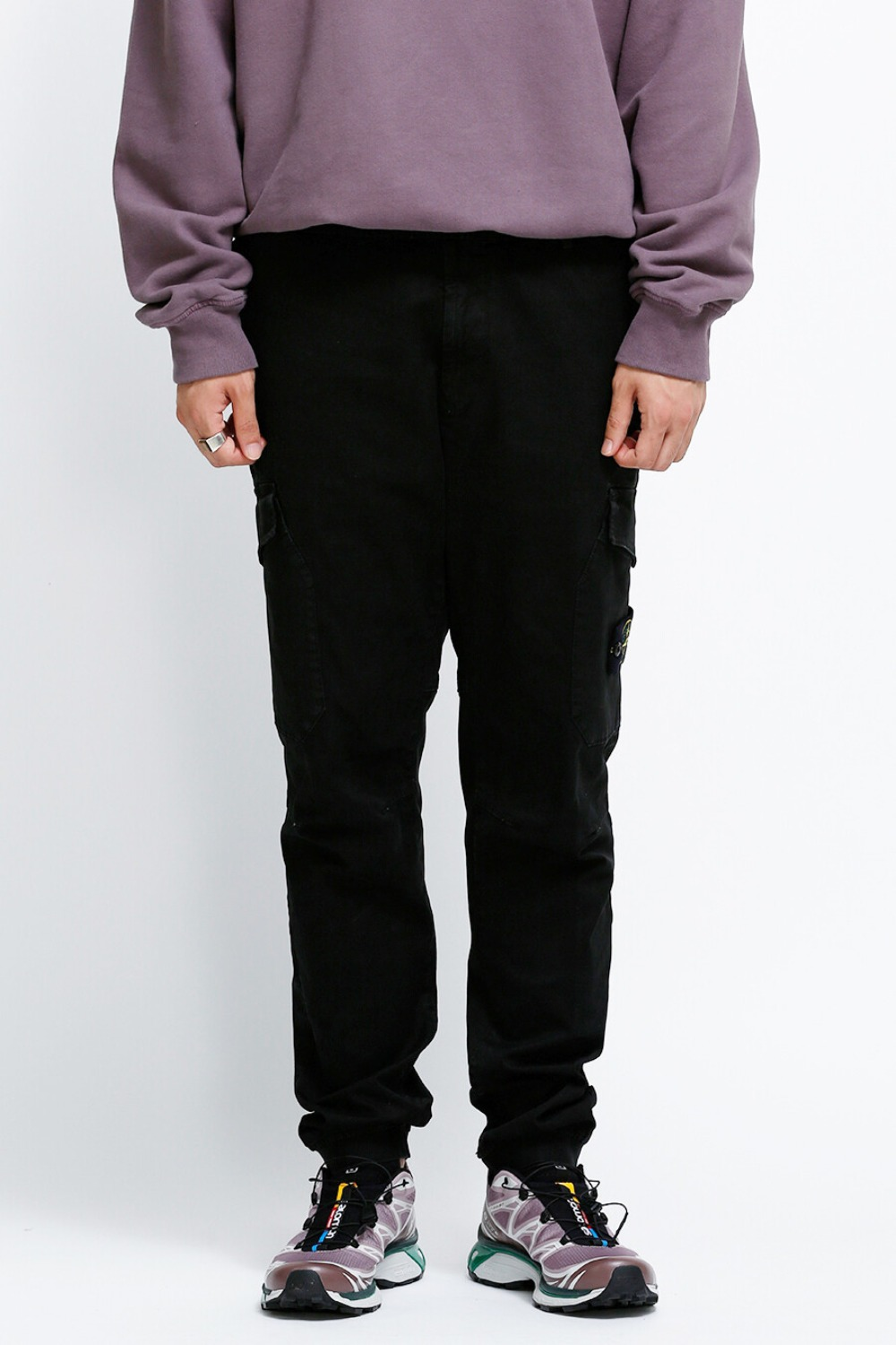 GARMENT DYED CARGO PANTS BLACK
