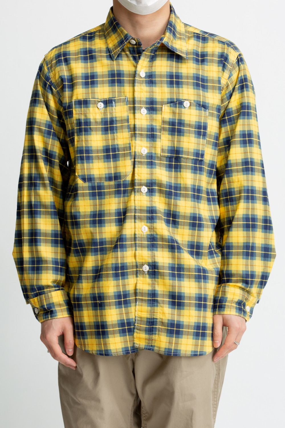 WORK SHIRT YELLOW/NAVY COTTON PRINTED PLAID