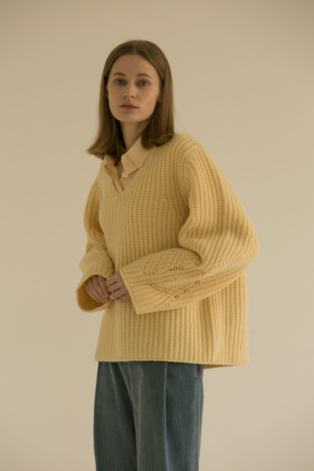 MUSED CHUNKY WOOL KNIT CREAM BUTTER