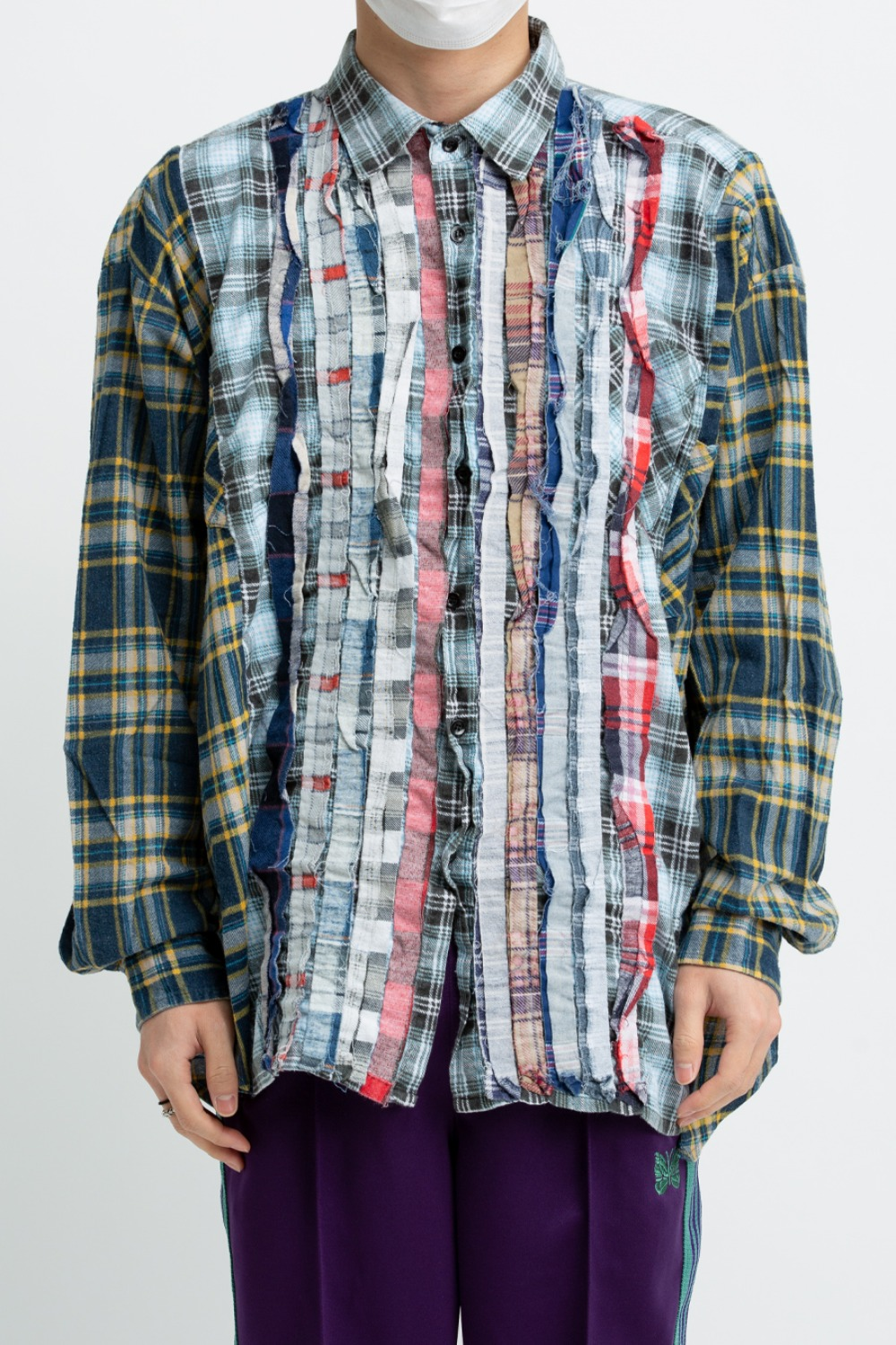 (FRE-3)REBUILD BY NEEDLES FLANNEL SHIRT - RIBBON WIDE SHIRT ASSORTED