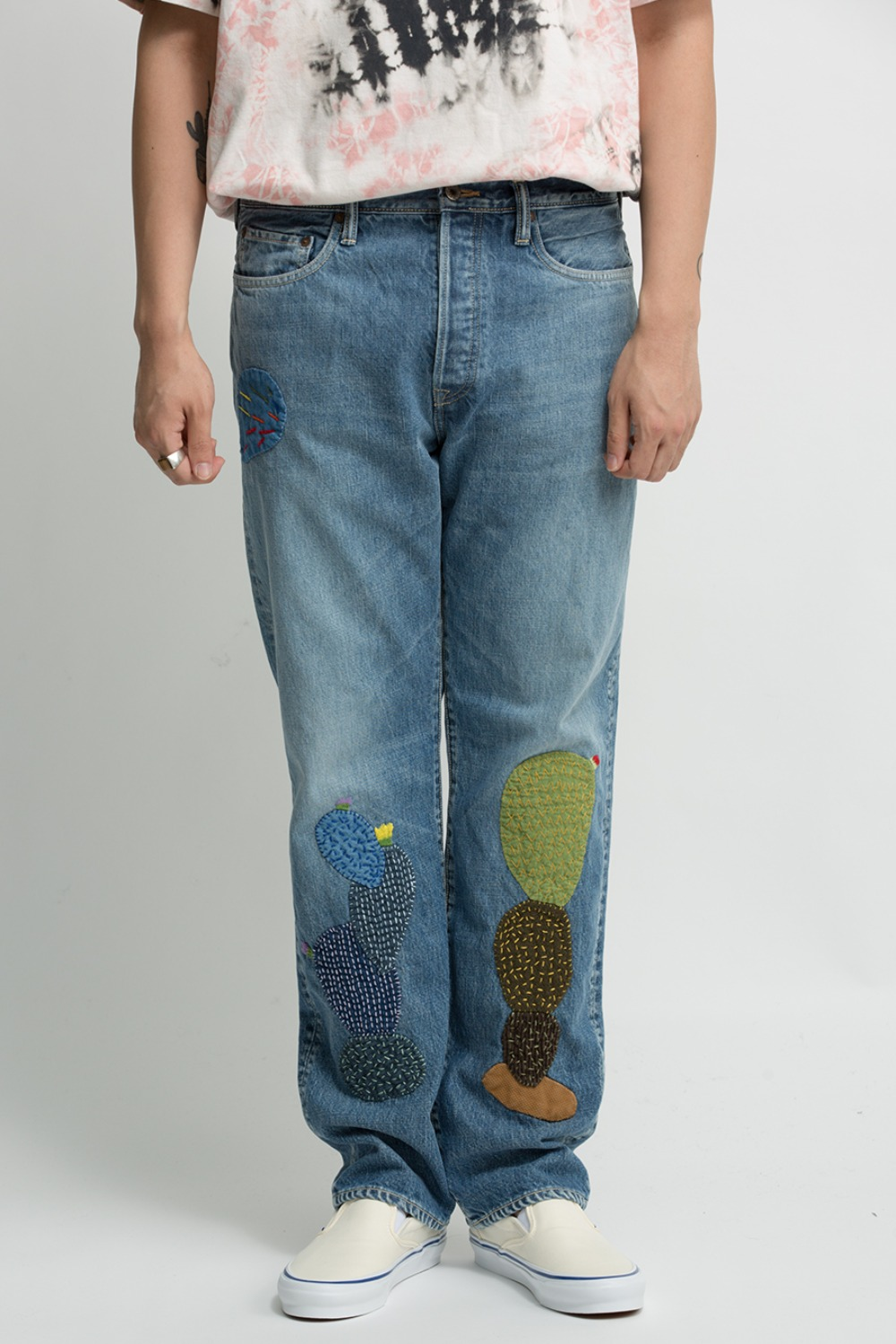14OZ DENIM 5P MONKEY CISCO(CACTUS EMBROIDERY)