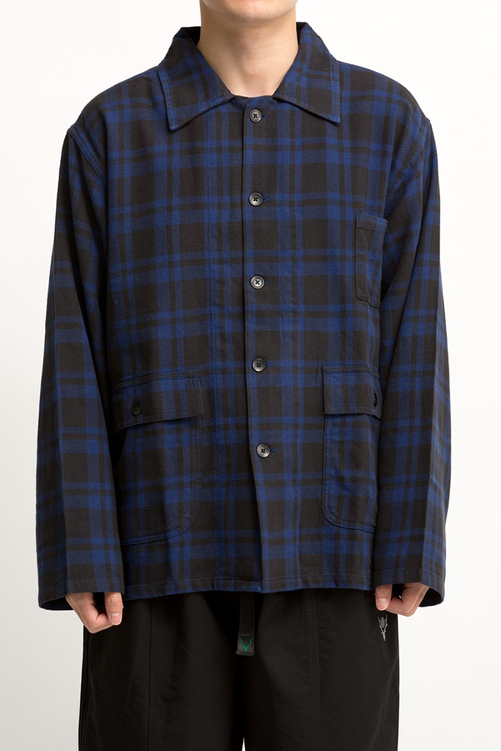 HUNTING SHIRT PLAID TWILL BLACK / BLUE
