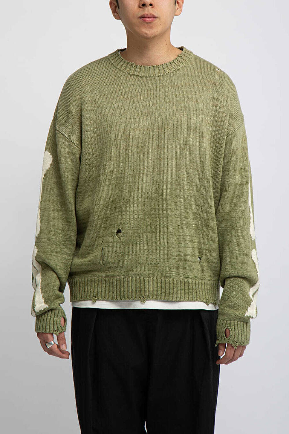 5G COTTON KNIT BONE CREW SWEATER KHAKI