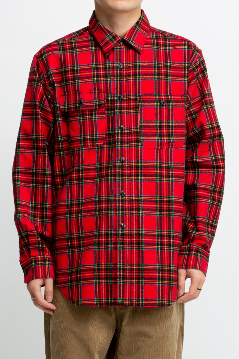UTILITY SHIRT RED BLACK COTTON BRUSHED PLAID