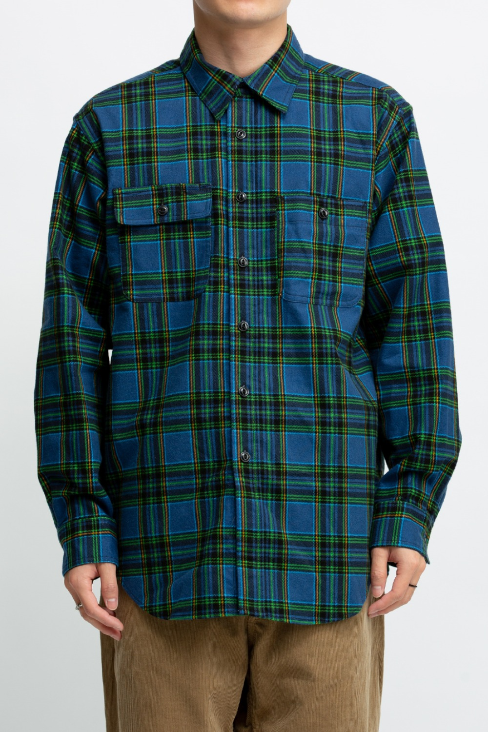 UTILITY SHIRT NAVY GREEN COTTON BRUSHED PLAID