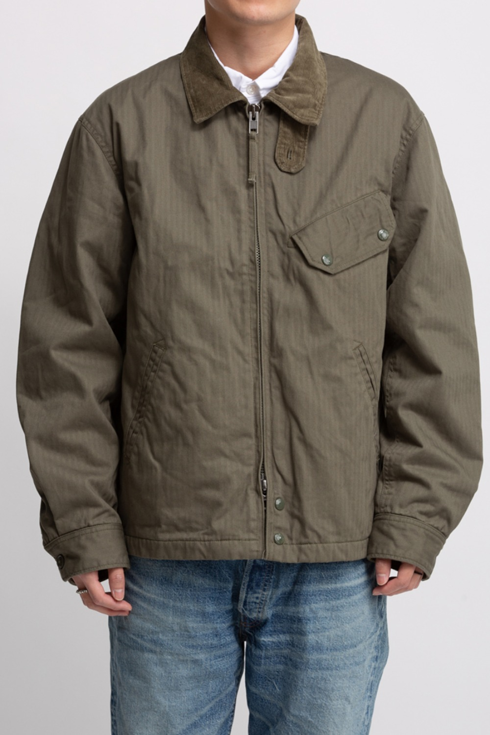 DRIVER JACKET OLIVE COTTON HERRINGBON TWILL