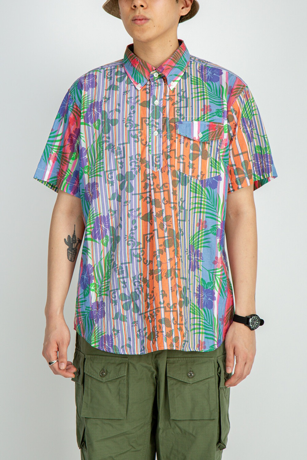 POPOVER BD SHIRT MULTI COLOR FLORAL PRINTED ON STRIPE MULTI