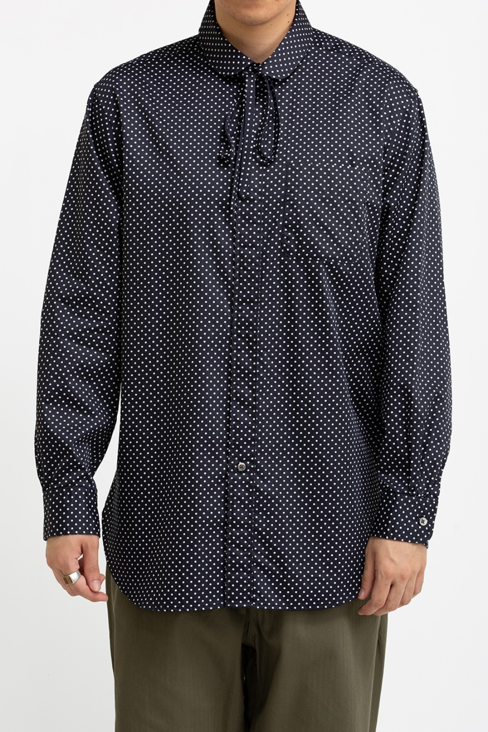 ROUNDED COLLAR SHIRT NAVY COTTON BIG POLKA DOT