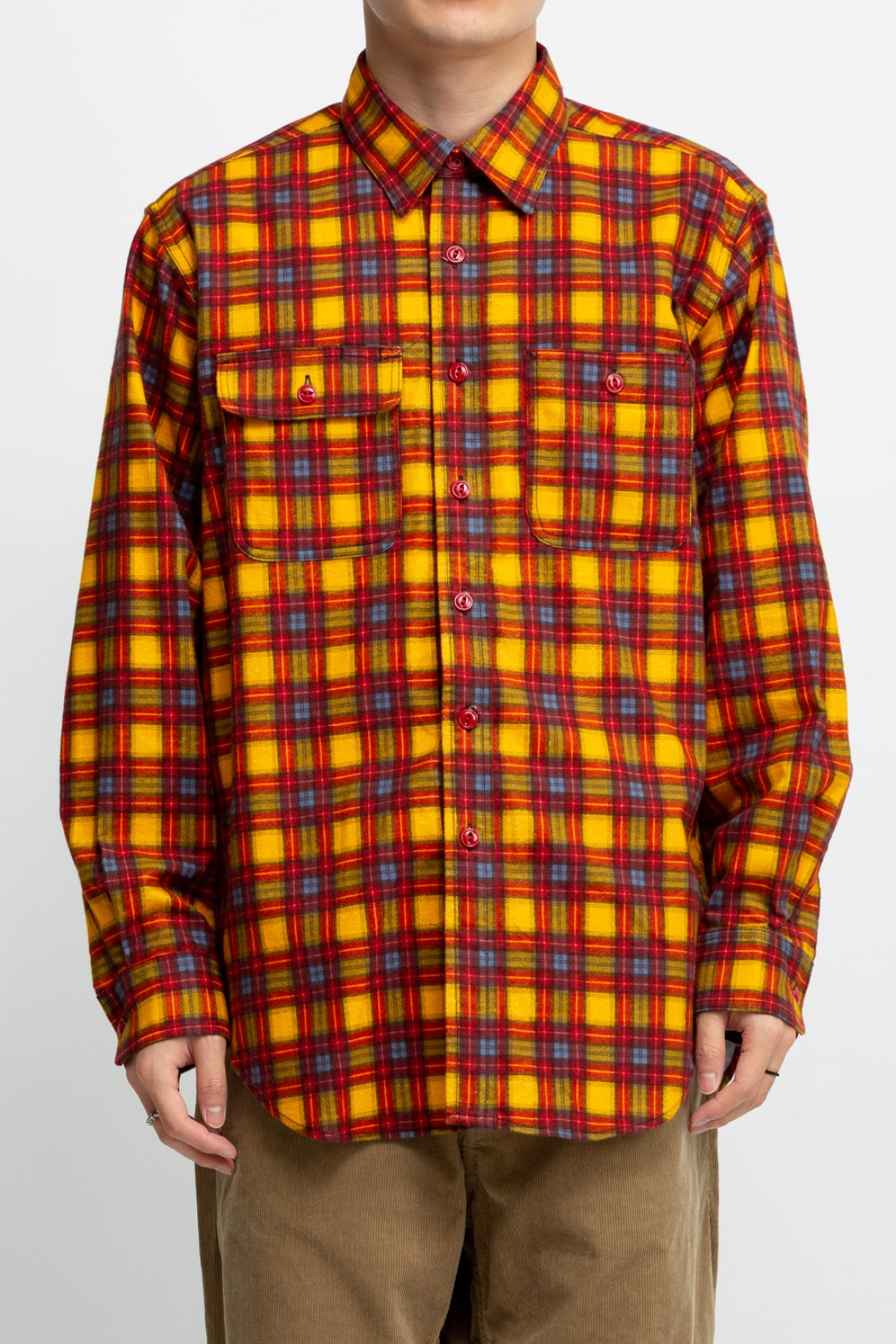 UTILITY SHIRT GOLD RED COTTON BRUSHED PLAID