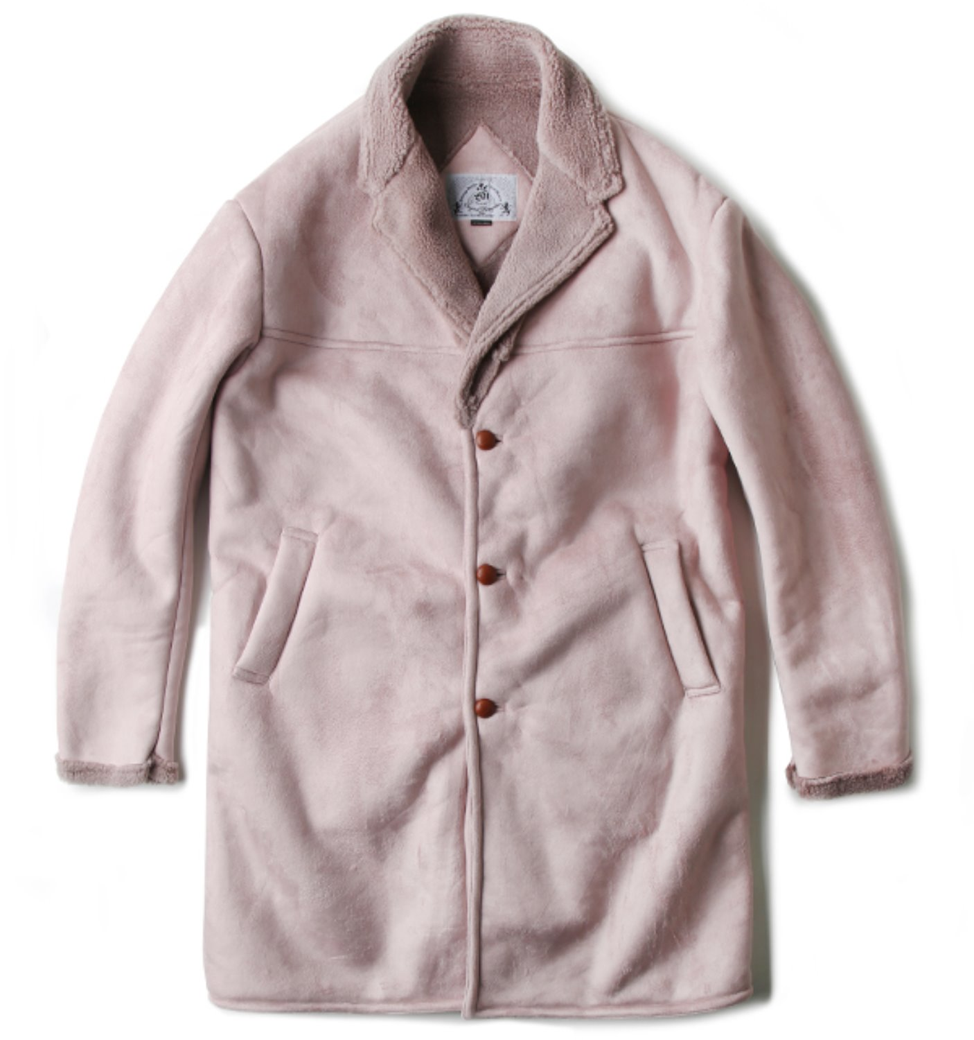 FAUX SHEARING OVER COAT PINK(BAL-1699)