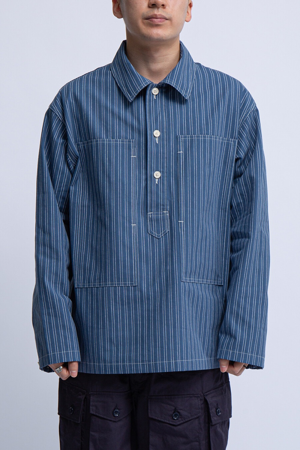 ARMY SHIRT BLUE WHITE WORKERS STRIPE
