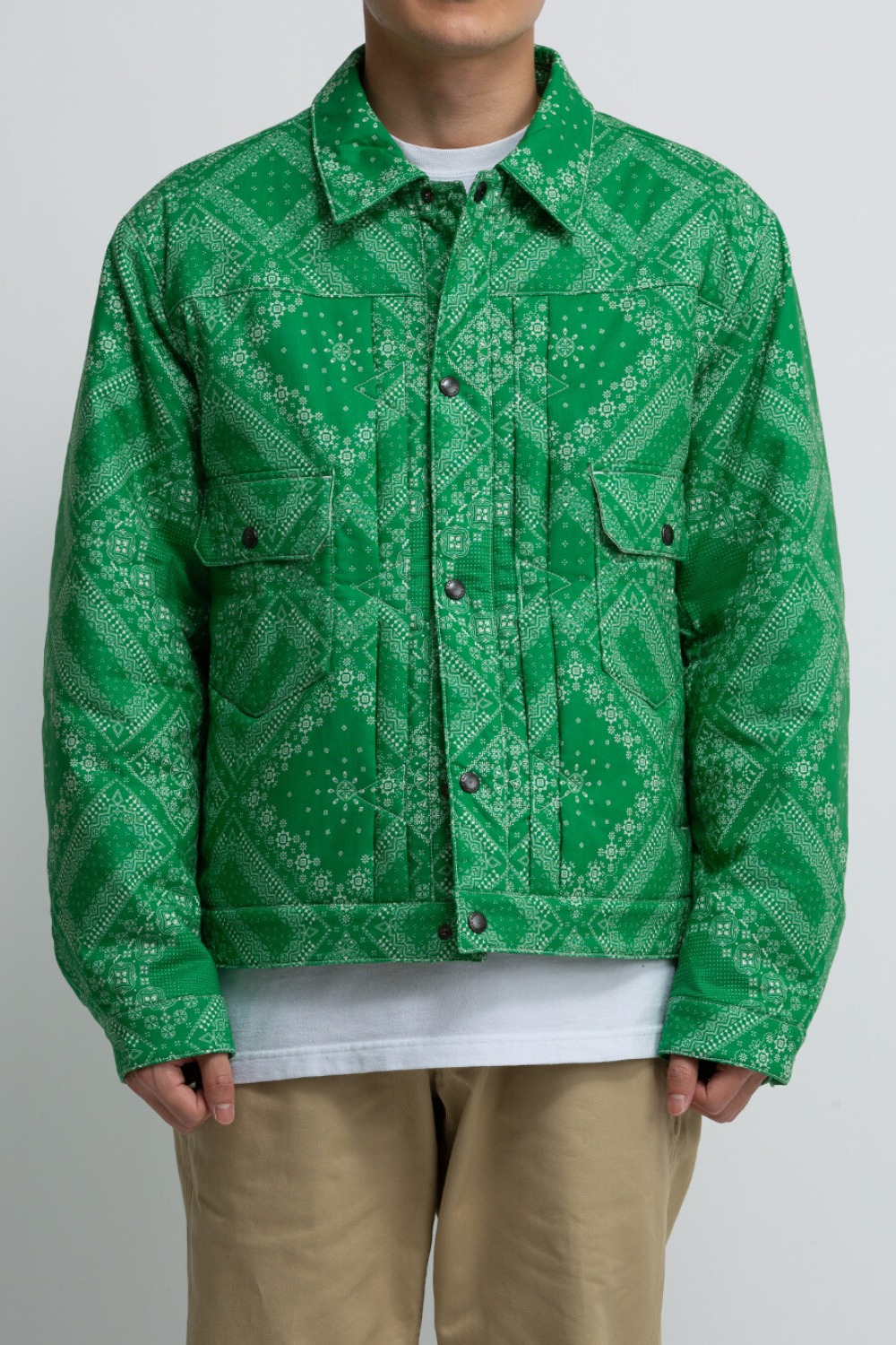 (SCULP EXCLUSIVE) PADDED TRUCKER JACKET PAISLEY GREEN