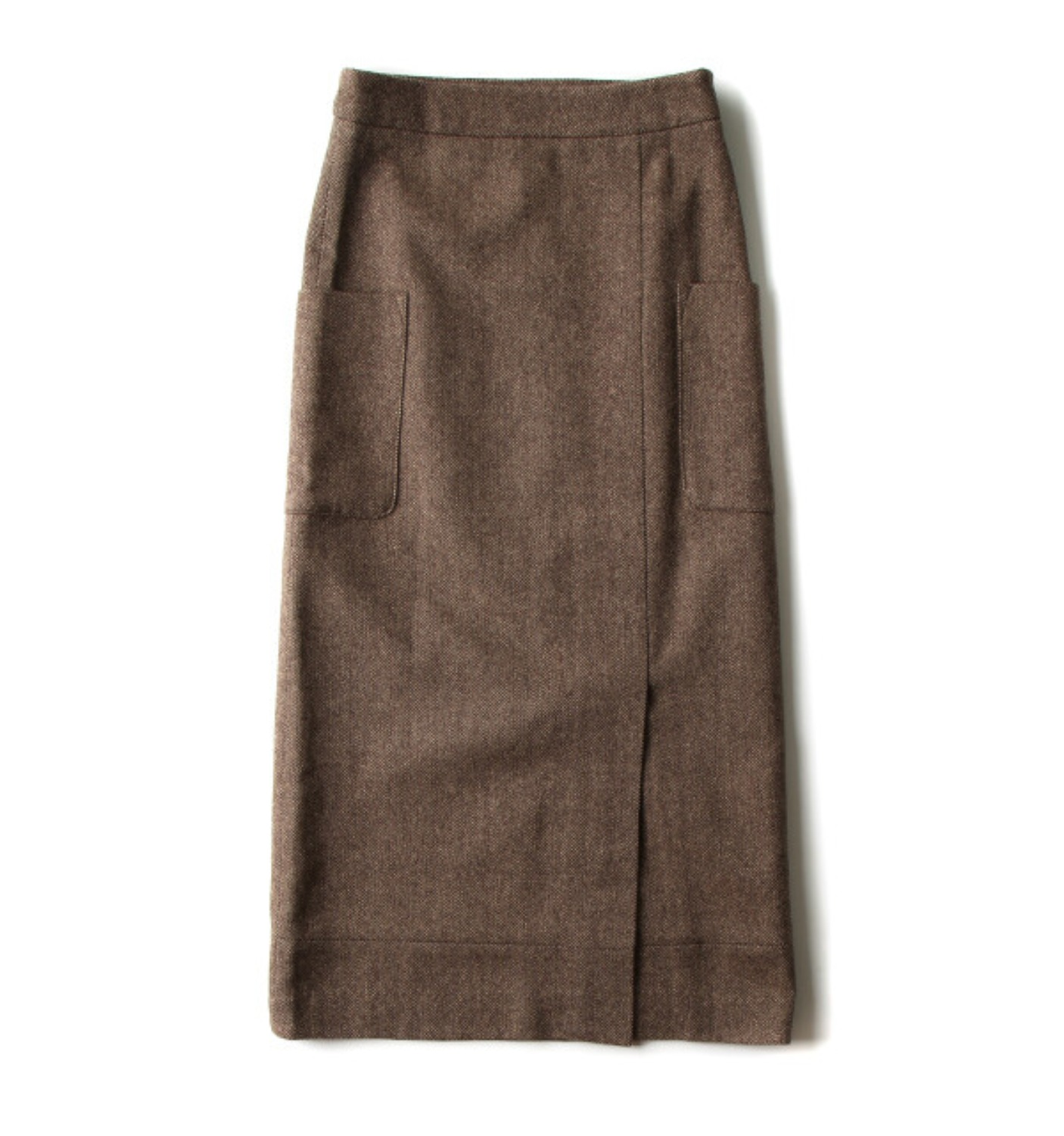 HIGHWAIST H-LINE SKIRT BROWN HERRINGBONE
