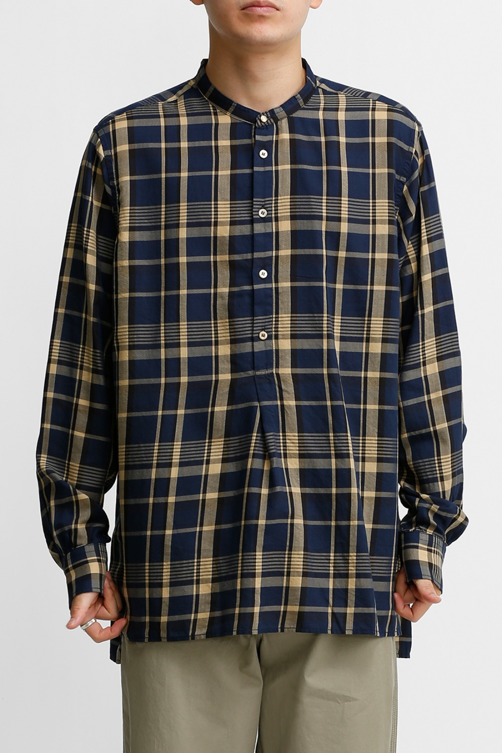 TUNIC SHIRT / NAVY & IVORY CHECK