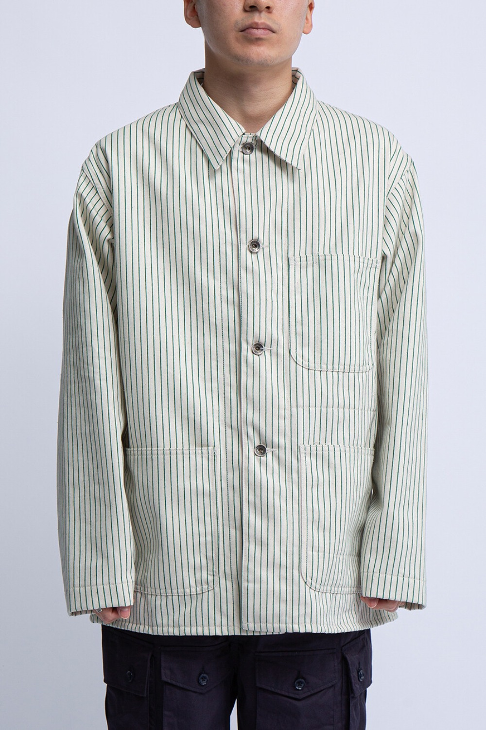 UTILITY JACKET NATURAL GREEN UNIFORM STRIPE