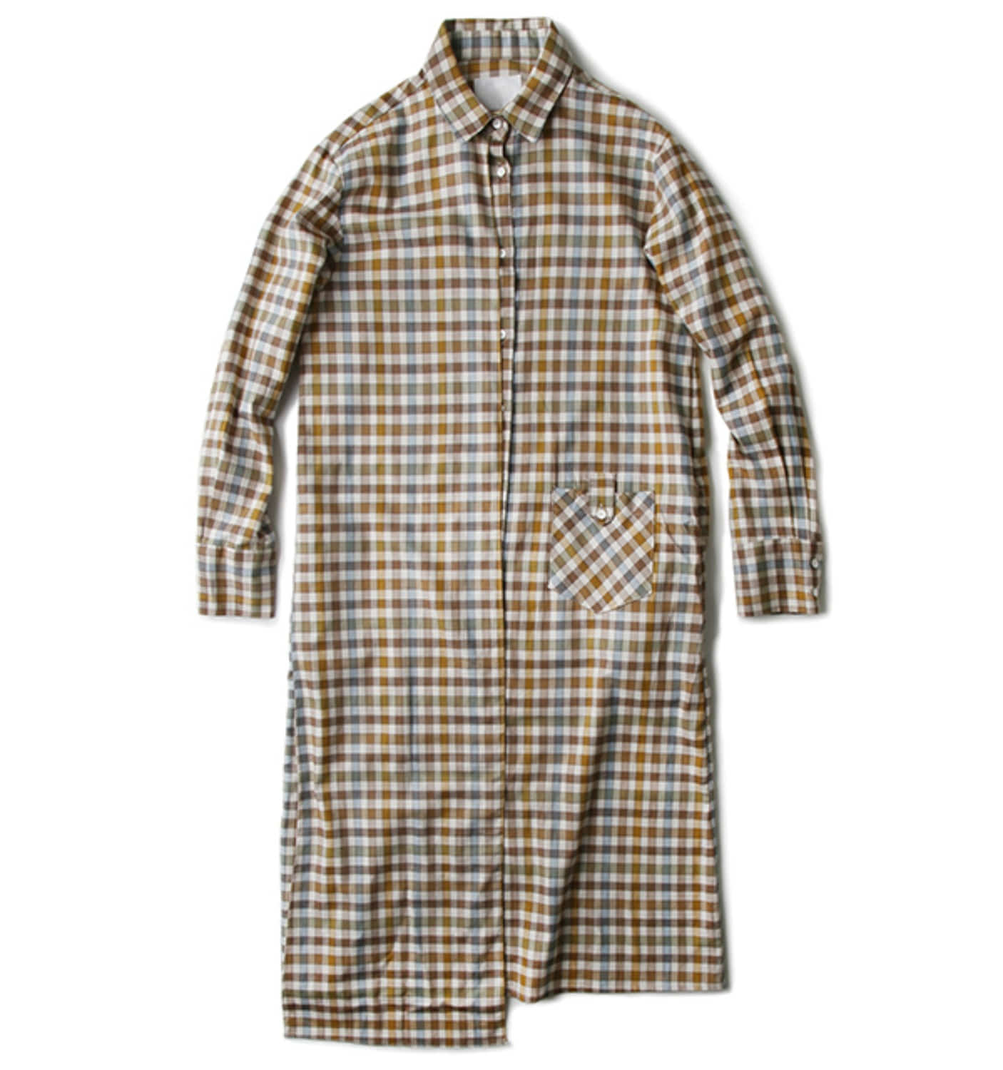 BLATT SHIRT DRESS-BROWN GINGHAMCHECK