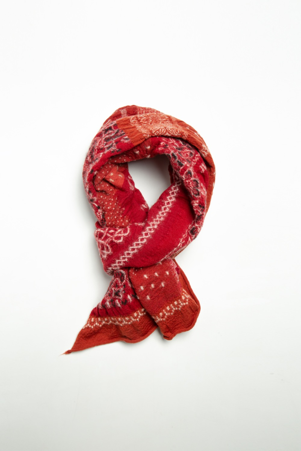 COMPRESSED WOOL SCARF BANDANA PATCHWORK(EK-574) RED