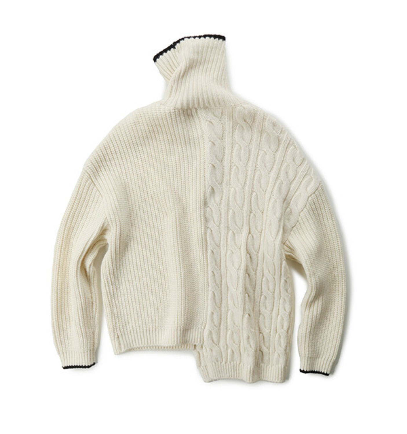 TRES UNBALANCED TURTLENECK SWEATER IVORY+NAVY (MDS07KN02)