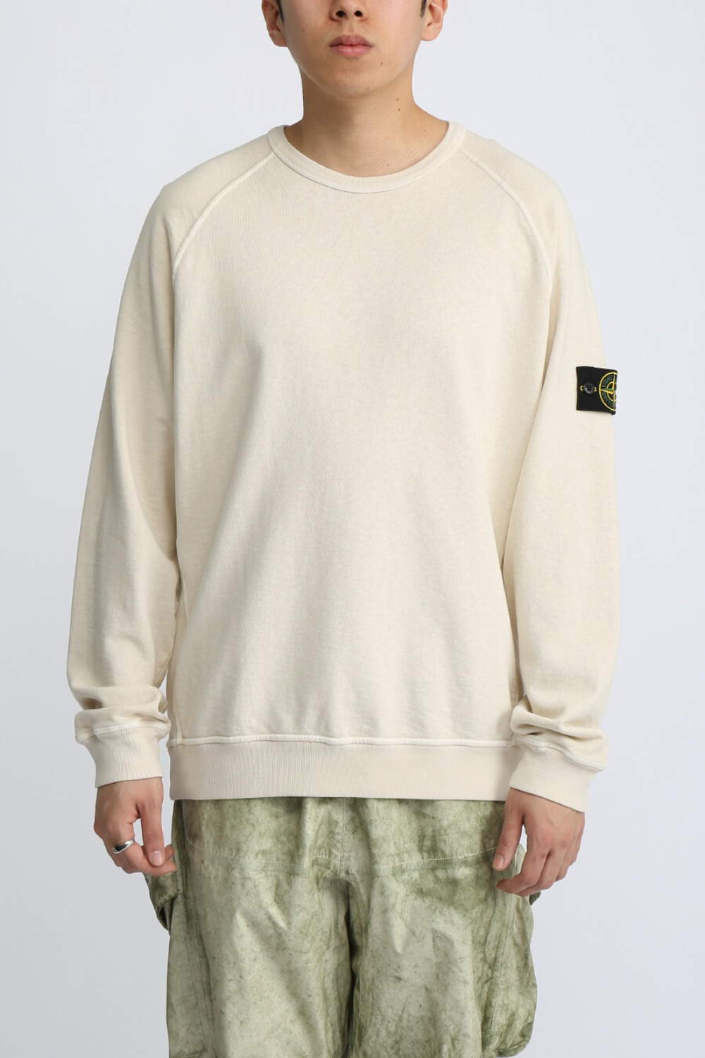 OLD EFFECT BRUSHED COTTON SWEATSHIRT BEIGE