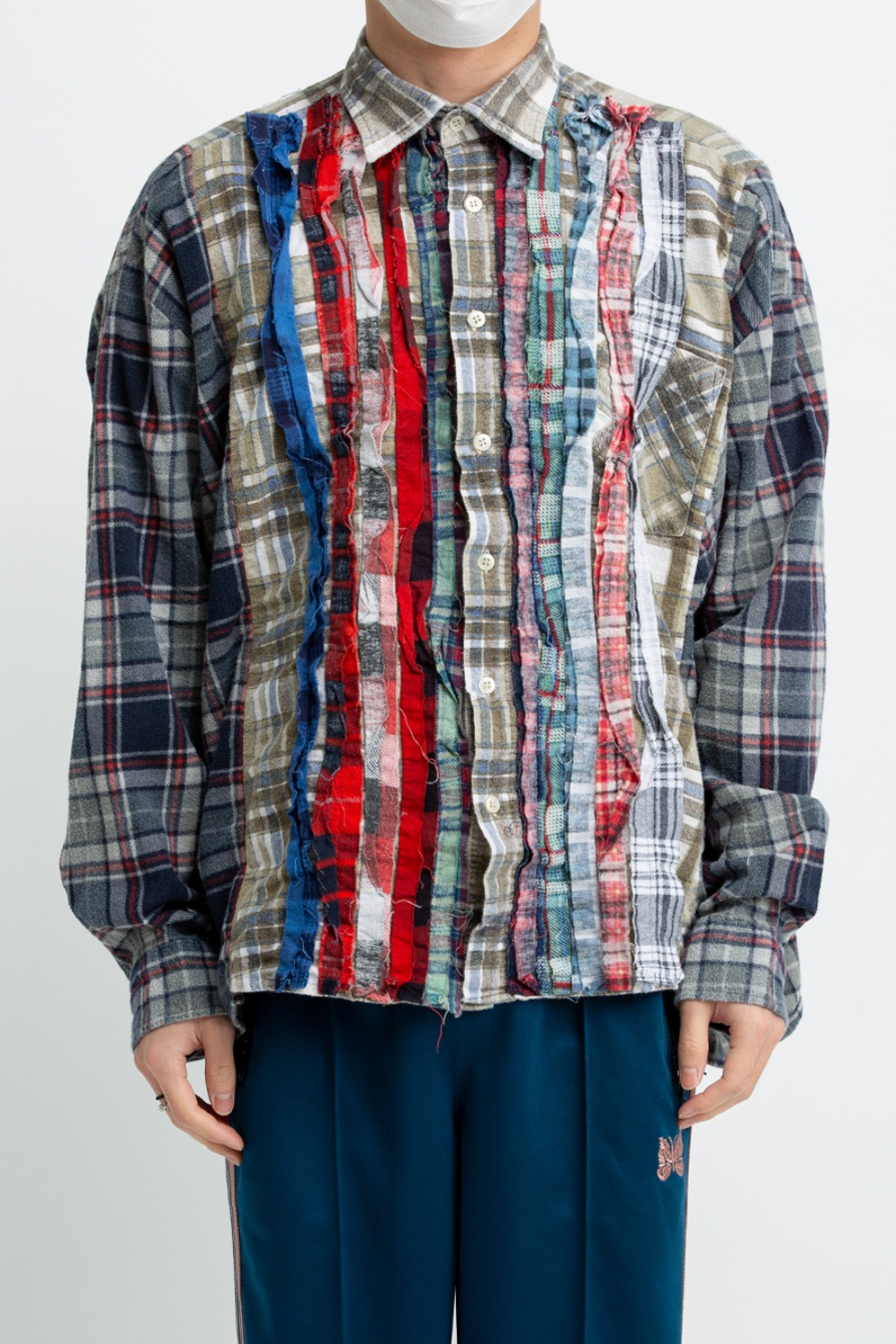 (FRE-5)REBUILD BY NEEDLES FLANNEL SHIRT - RIBBON WIDE SHIRT ASSORTED