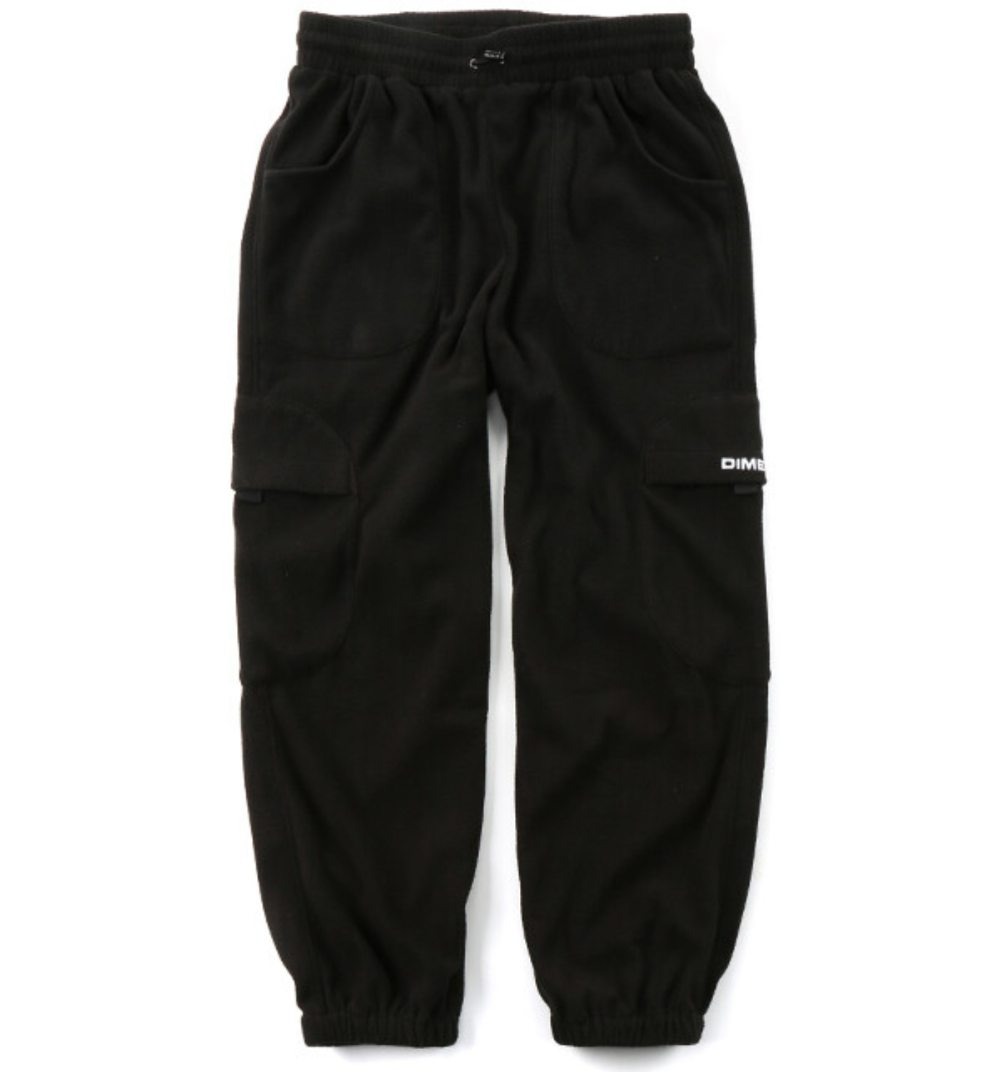 FLEECE ROUND CARGO PANTS BLACK
