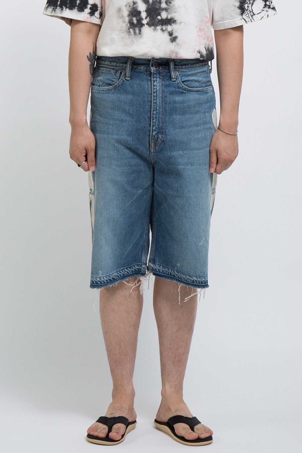 14OZ DENIM 5P SHORT PANTS(BONE EMBROIDERY)