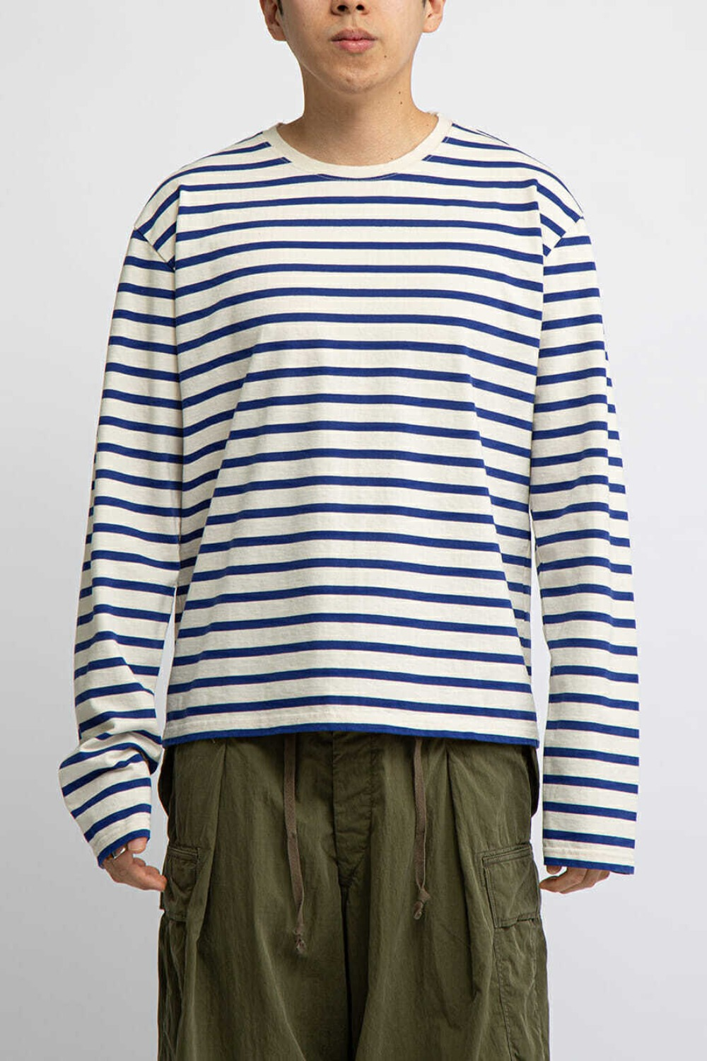 BORDER JERSEY CREW LONG SLEEVE T(SMILIE PATCH) BLUE