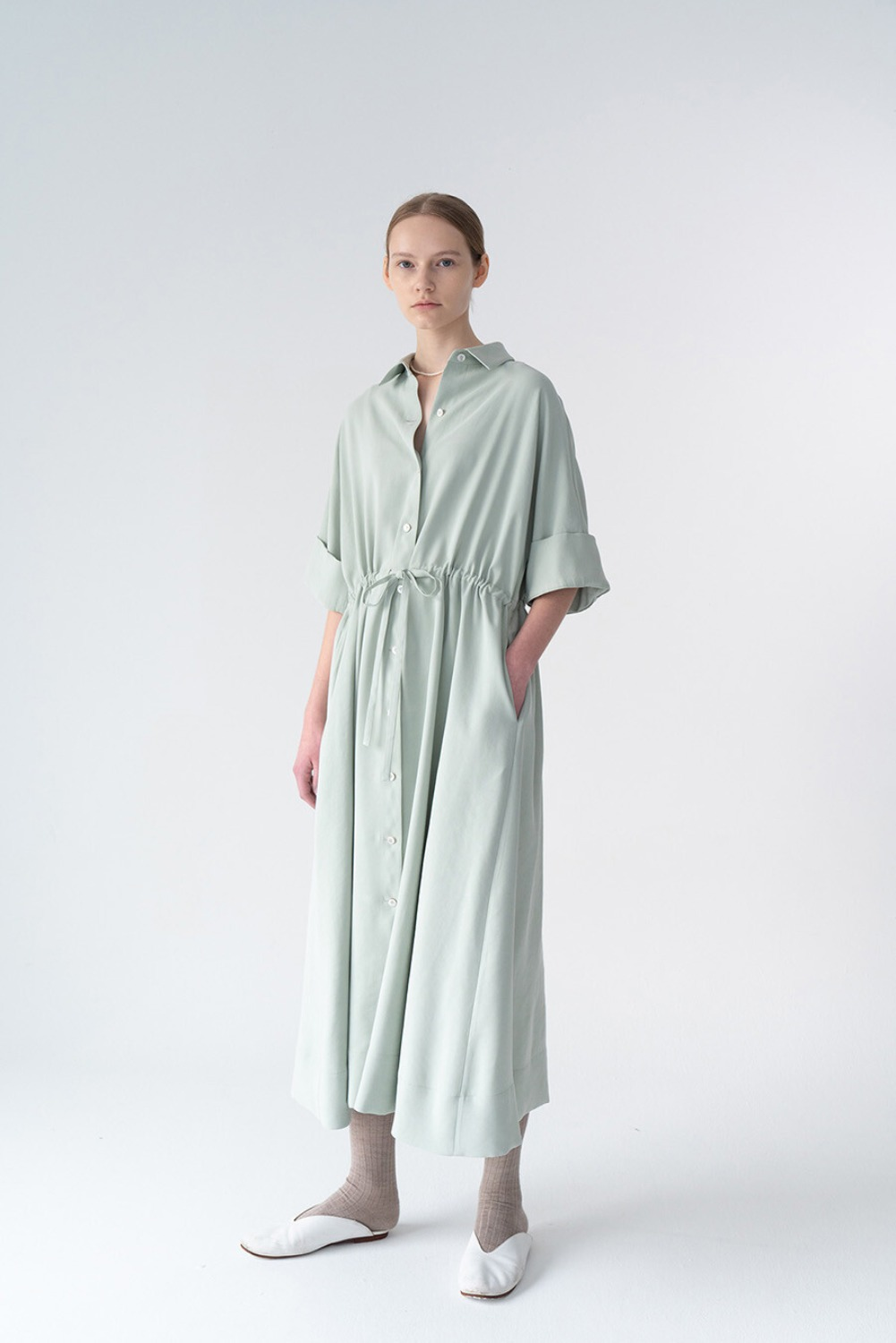 ELEVE SHIRT DRESS-MINT TENCEL