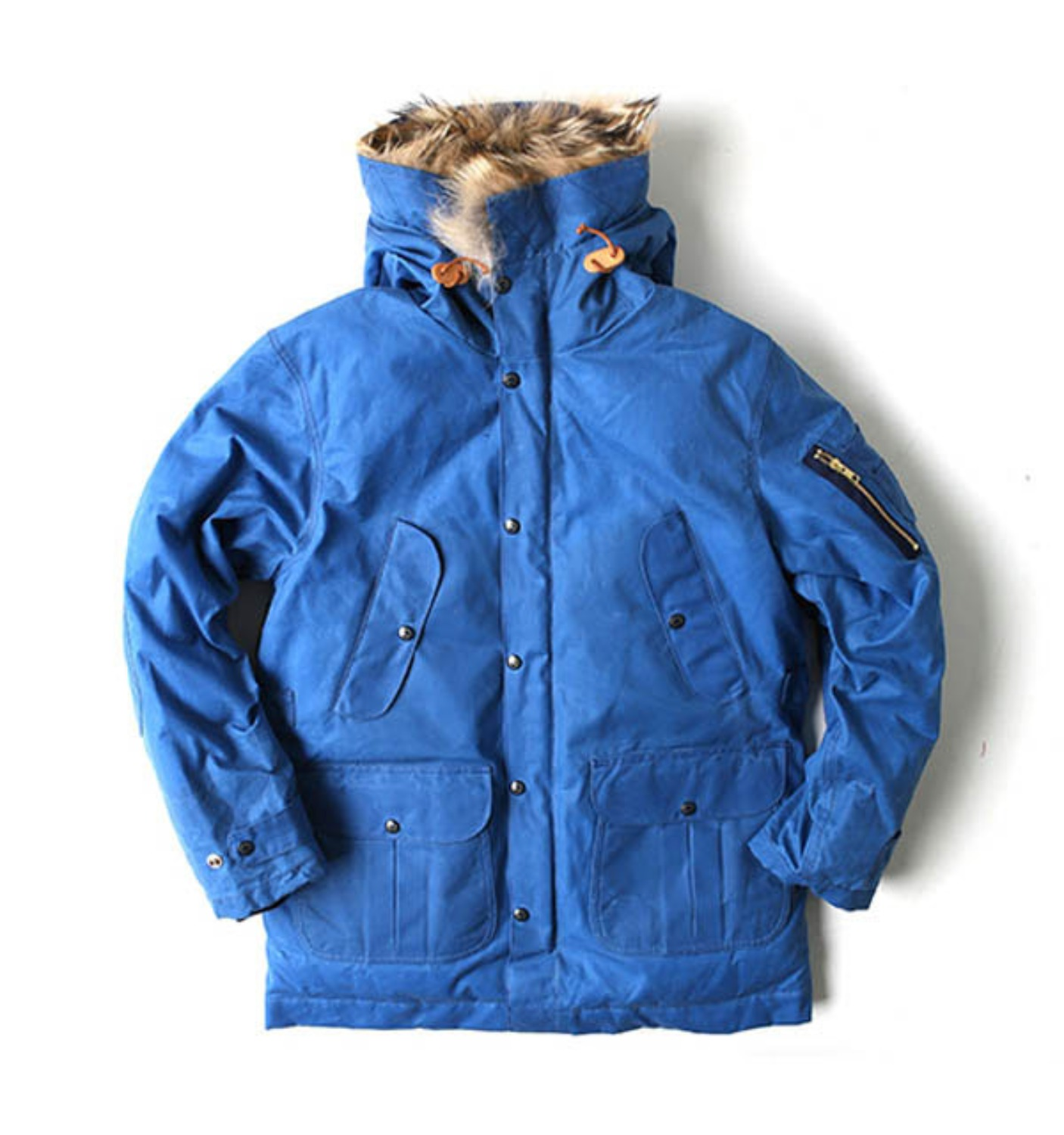 Heavy Wax Goose Down Parka Blue Ladies by ITALY(8002W-BX)