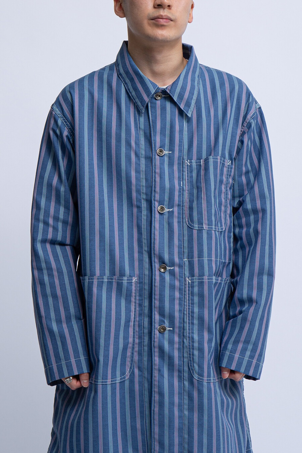 SHOP COAT BLUE MULTI WORKERS STRIPE