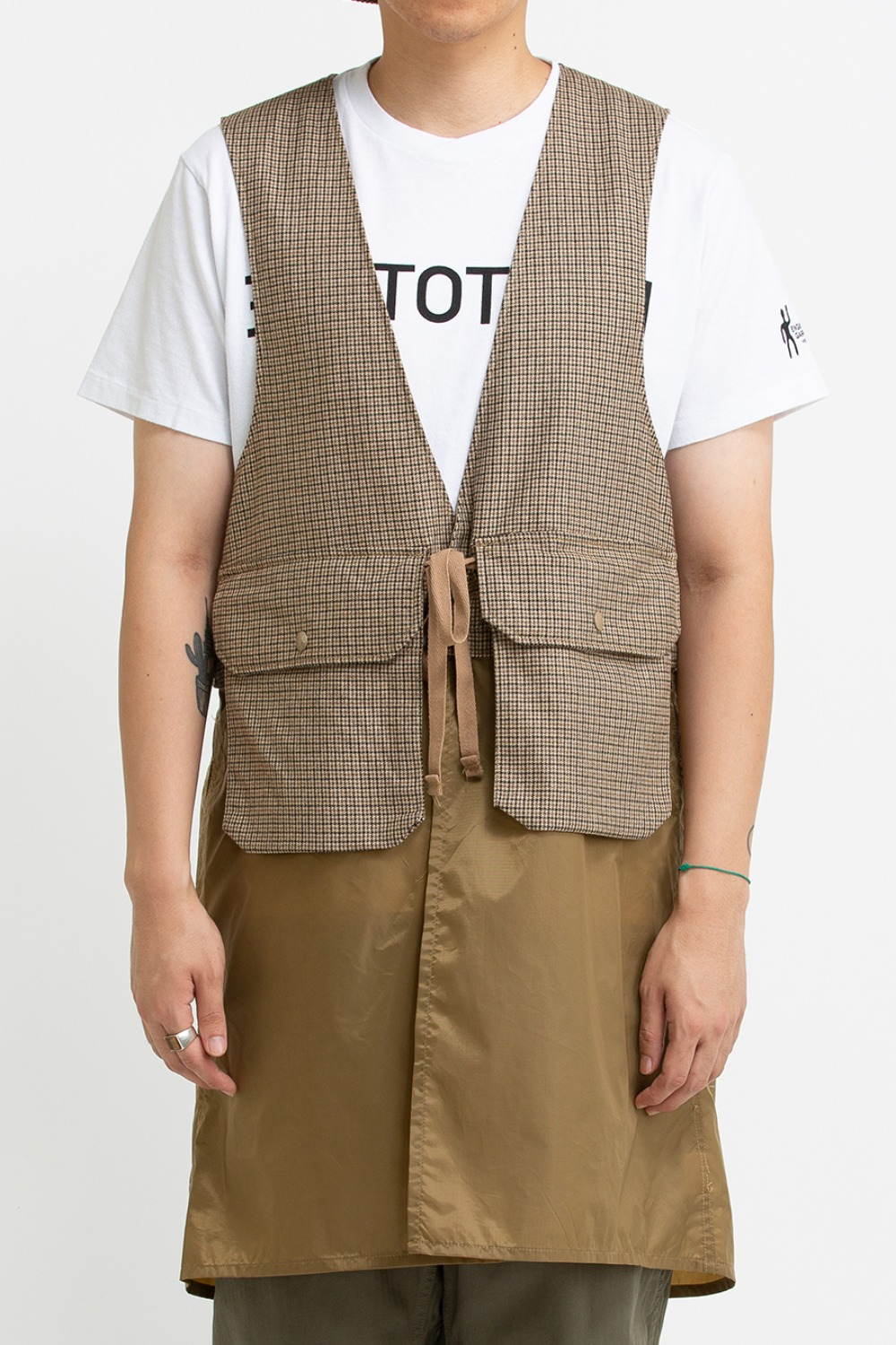 LONG FOWL VEST BROWN WOOL POLY GUNCLUB
