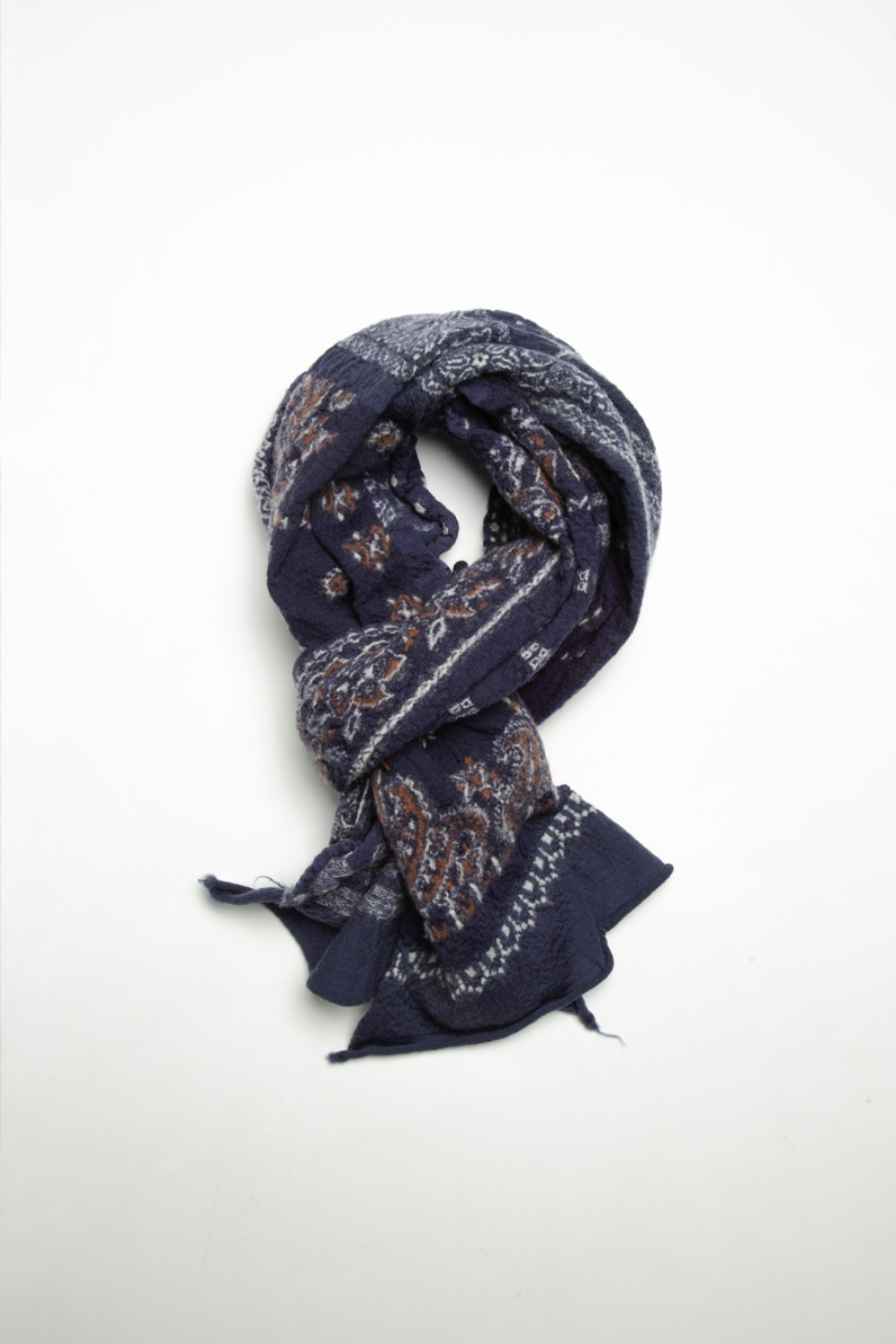 COMPRESSED WOOL SCARF BANDANA PATCHWORK(EK-574) NAVY