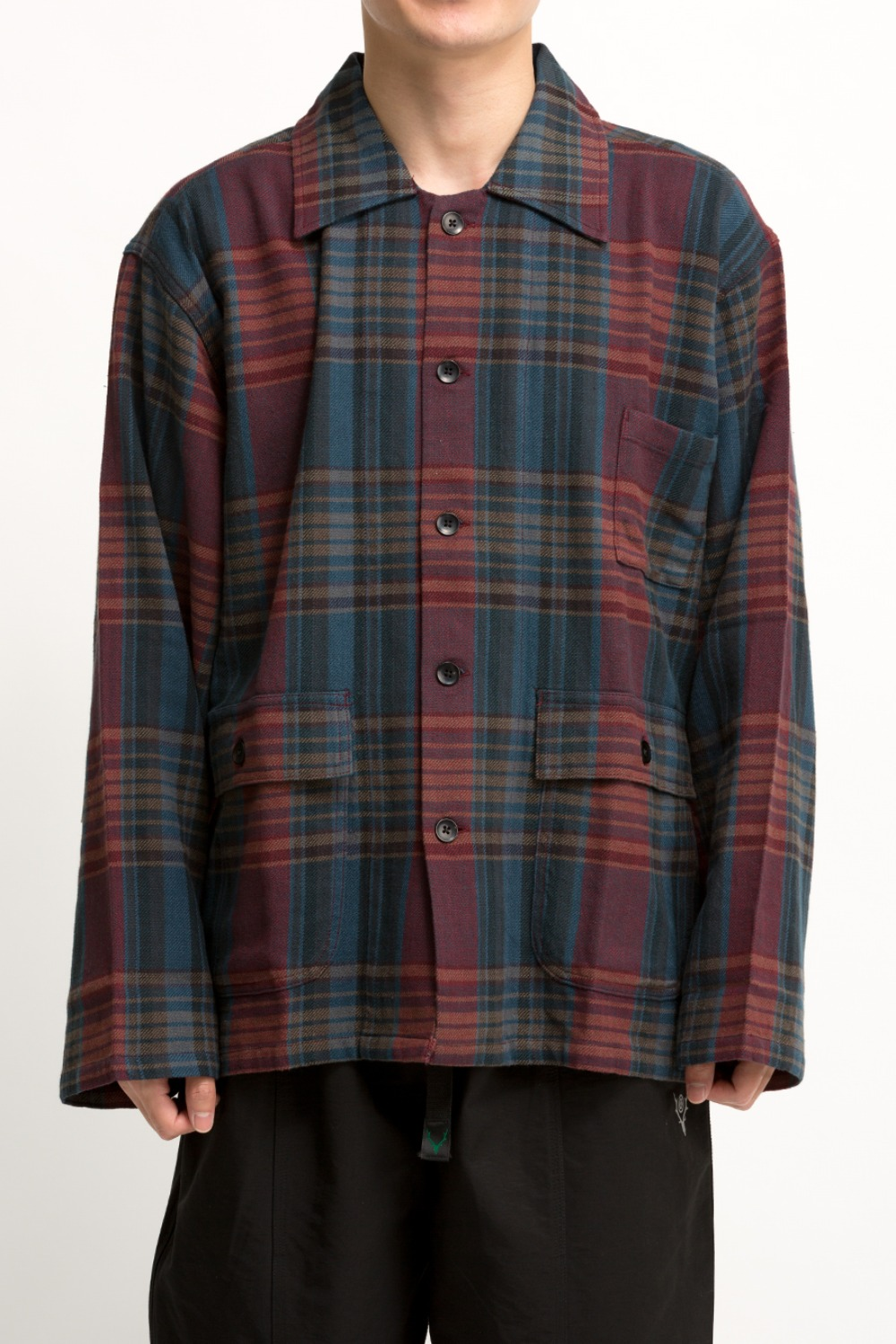 HUNTING SHIRT PLAID TWILL NAVY / RED