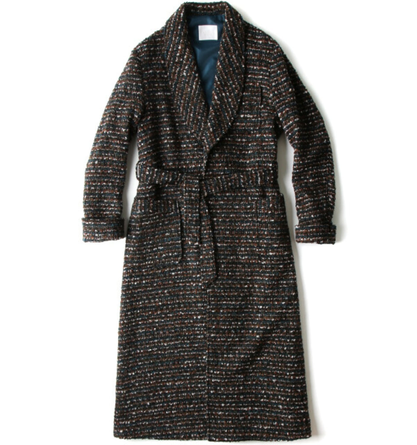 RELAXED ROBE COAT MULTICOLOR FANCY TWEED