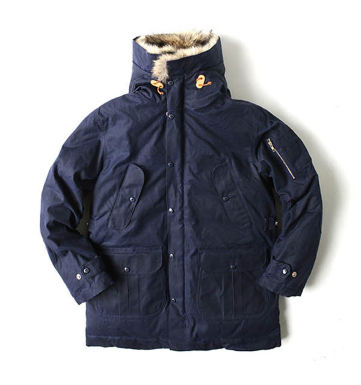 Heavy Wax Goose Down Parka Navy Ladies by ITALY(8002W-BX)
