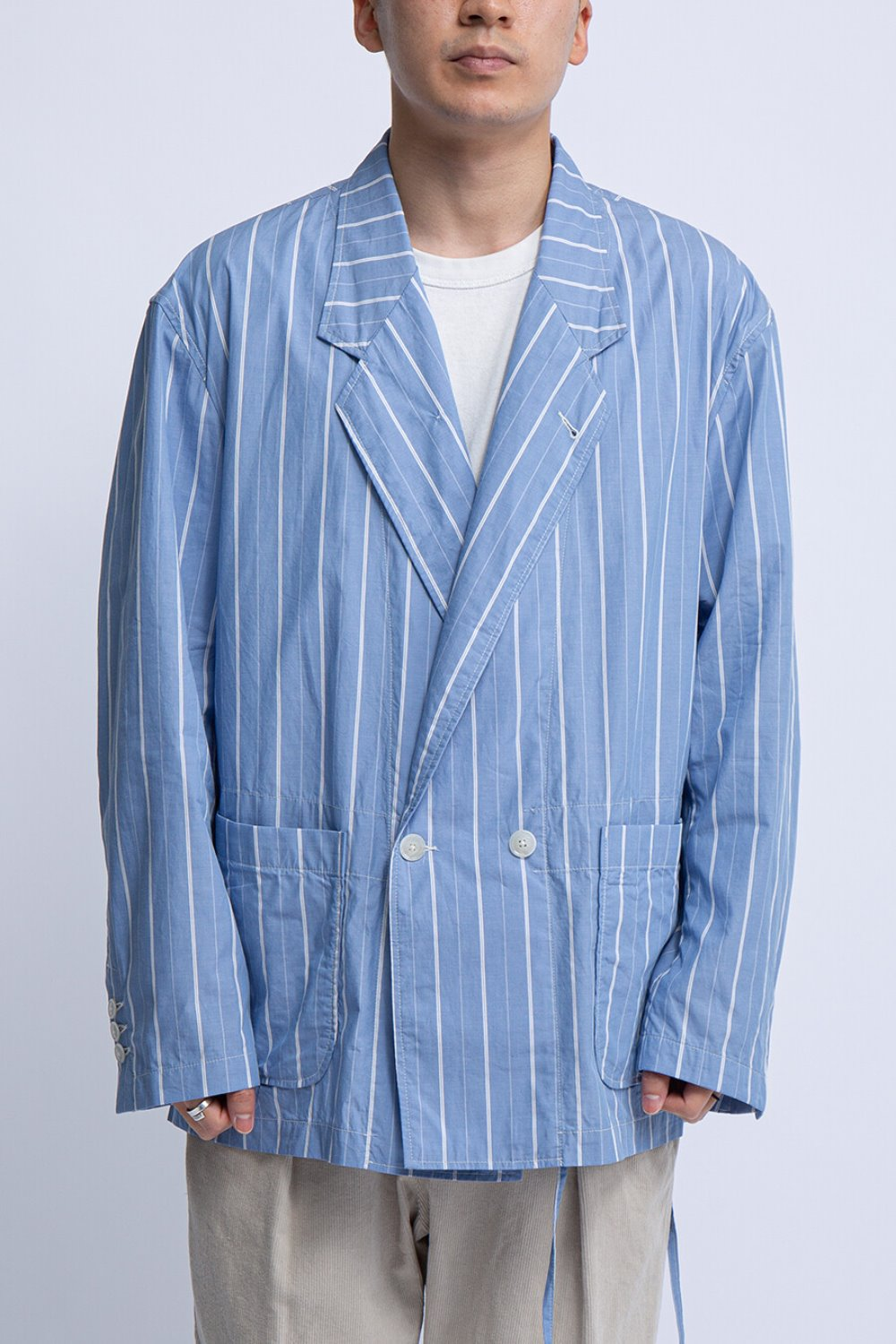 EZ JACKET BLUE/WHITE COTTON STRIPE