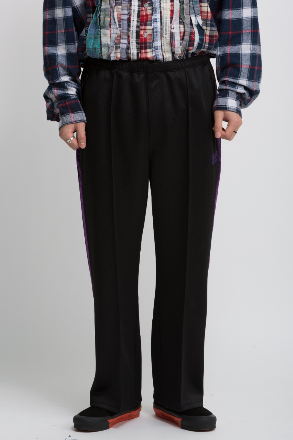 SIDE LINE SEAM POCKET PANT BRIGHT POLY JERSEY BLACK/PURPLE