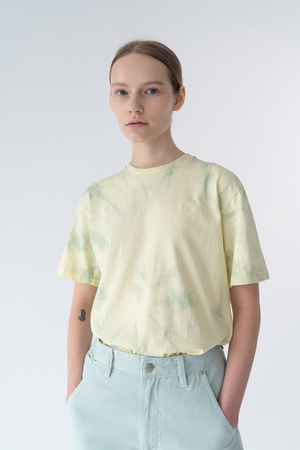 HAND TIE-DYE T-SHIRT LEMON + MINT