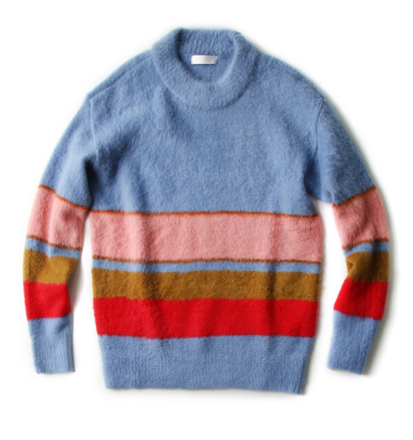 COLOR STRIPE PULLOVER KNIT BABY BLUE