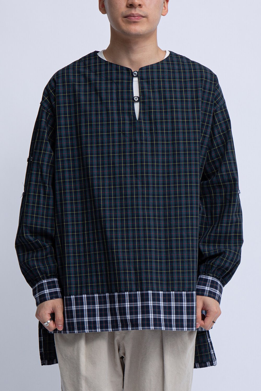 LONG TUNIC HUNTER GREEN COTTON PLAID