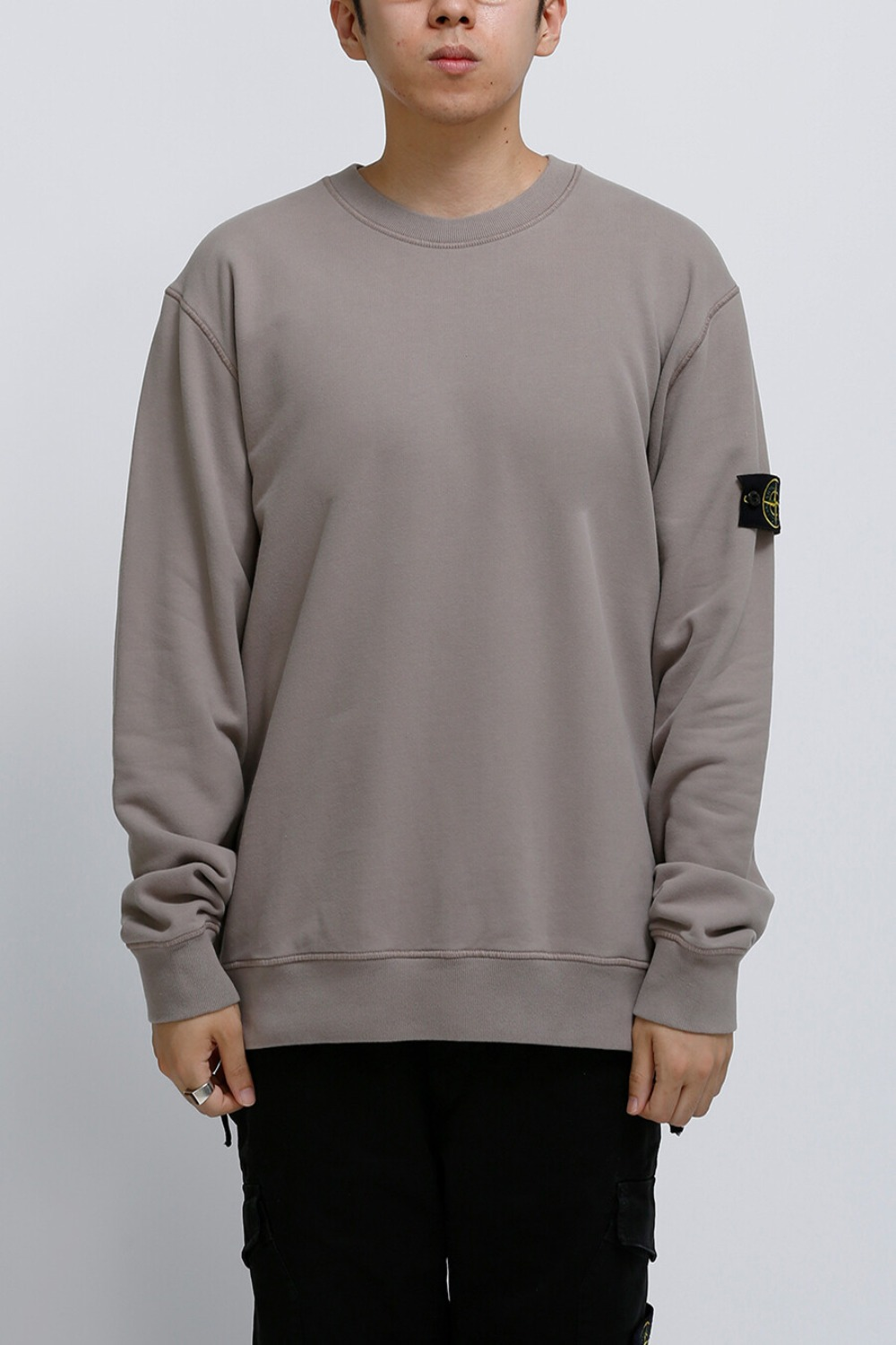 BRUSHED COTTON FLEECE GARMENT DYED SWEATSHIRT TAUPE