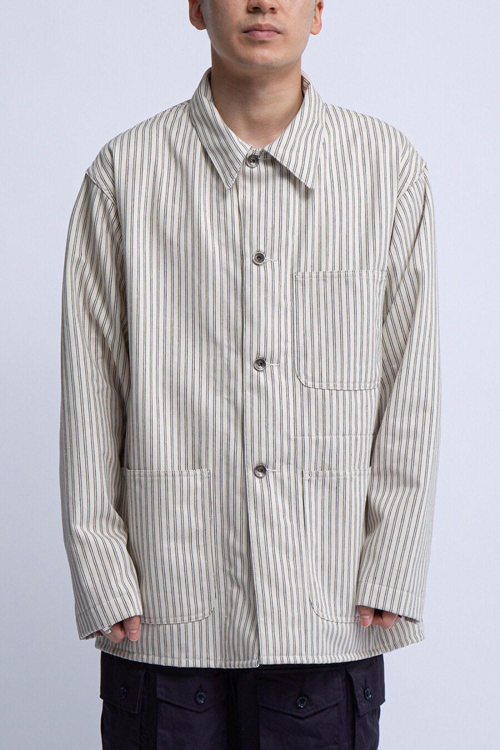 UTILITY JACKET NATURAL NAVY UNIFORM STRIPE