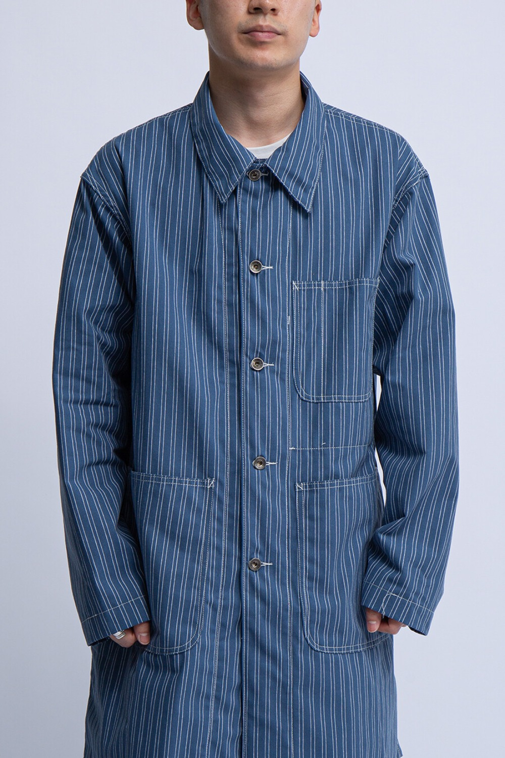 SHOP COAT BLUE WHITE WORKERS STRIPE