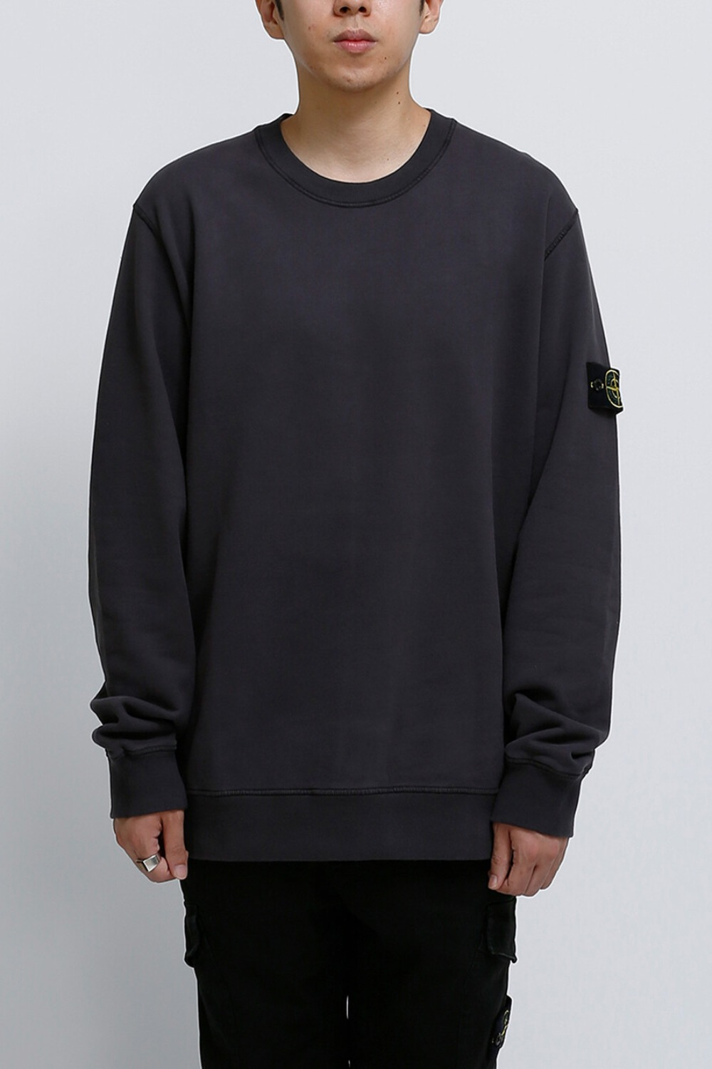 BRUSHED COTTON FLEECE GARMENT DYED SWEATSHIRT CHARCOAL