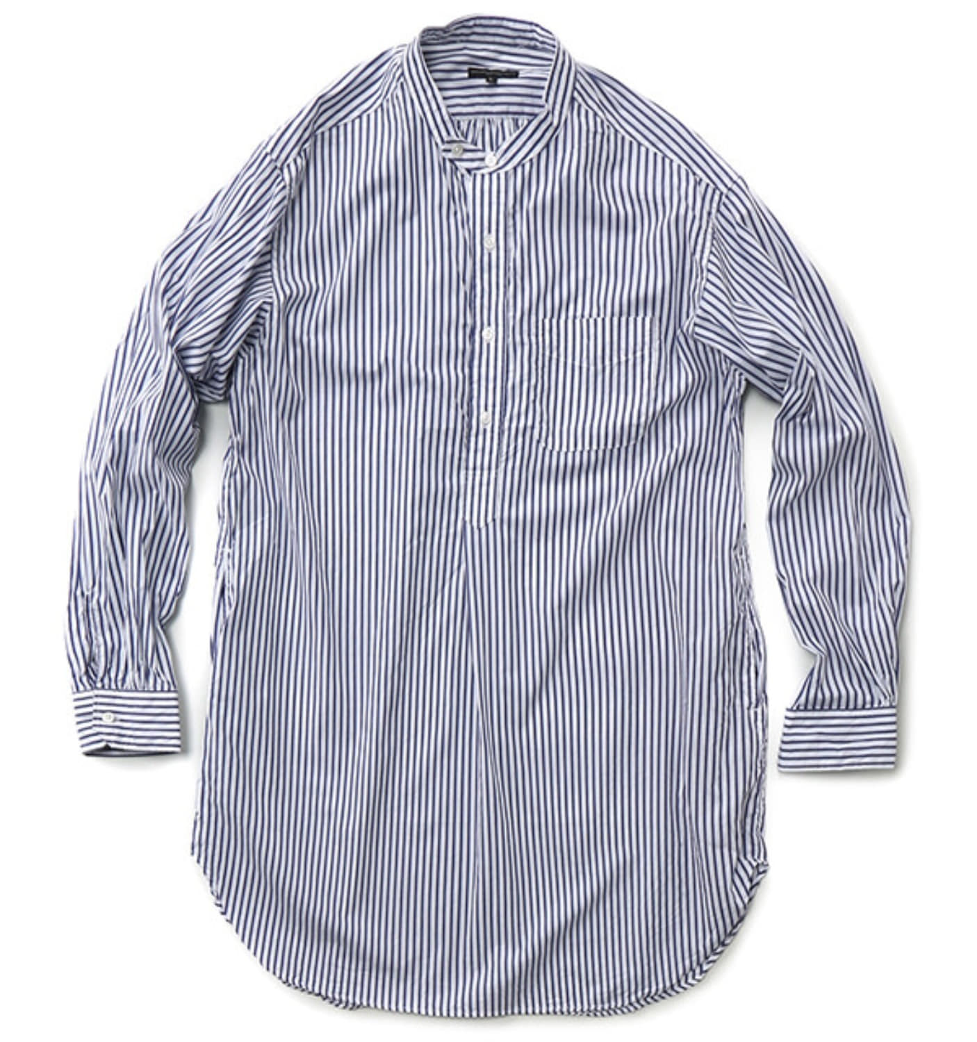 BANDED COLLAR SHIRT BLUE/WHITE WIDE STRIPE